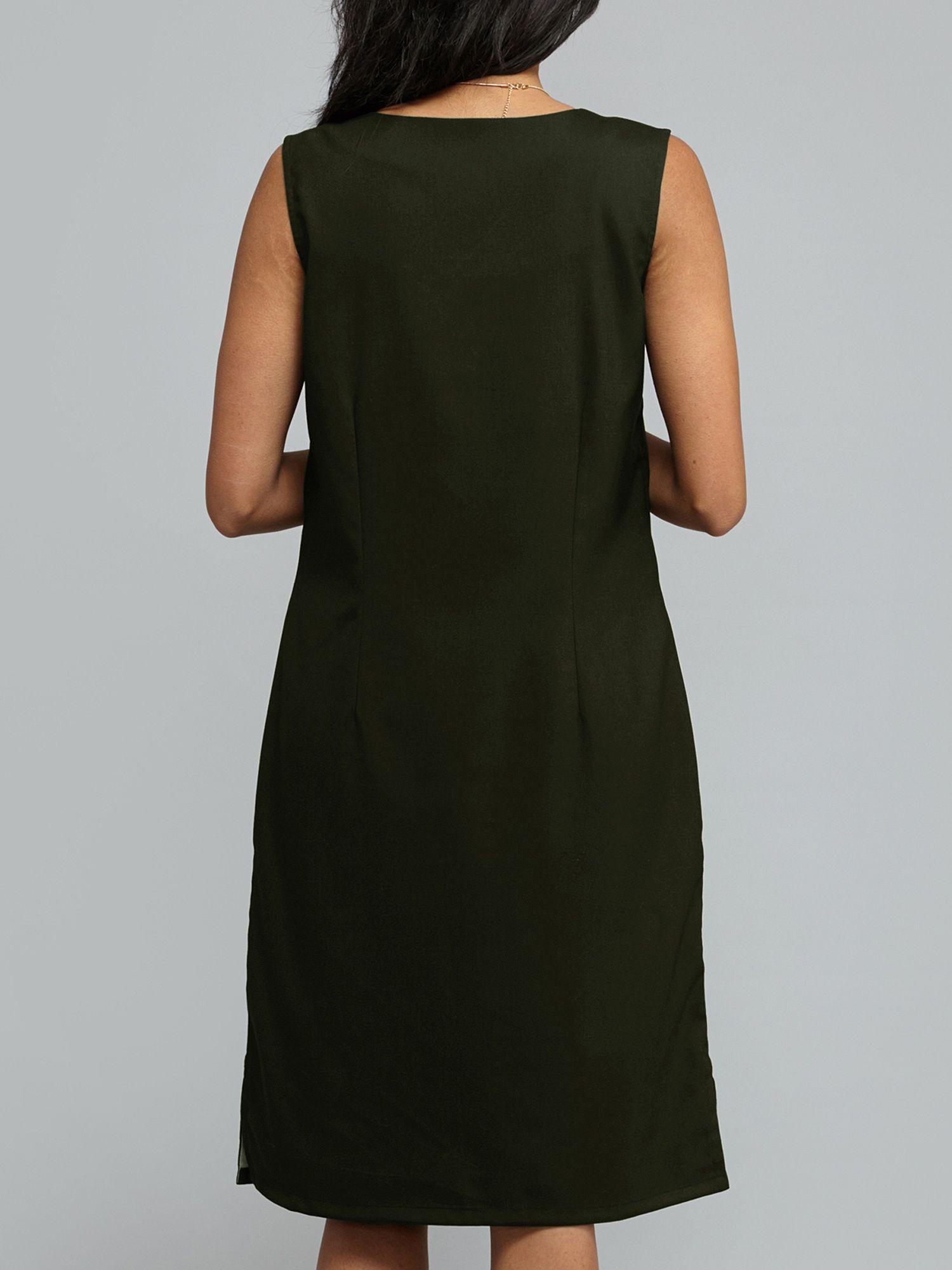 44ddfd8c02 FableStreet Dresses   Buy FableStreet V Neck Shift Dress - Seaweed ...