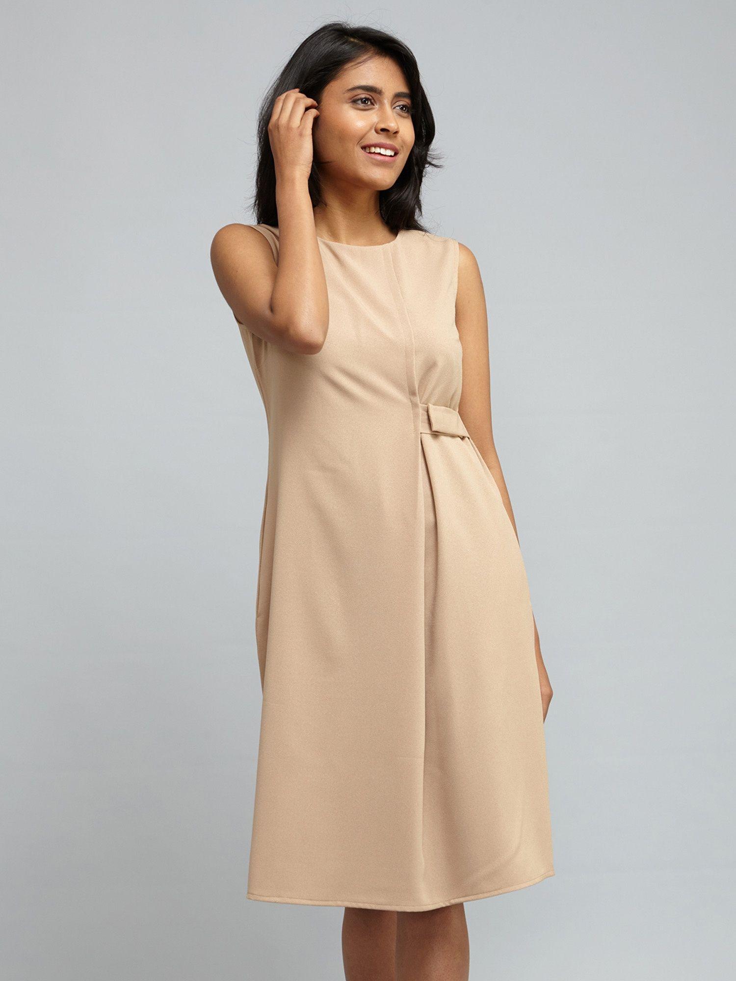 e35f57de6c FableStreet Dresses   Buy FableStreet Side Belt Front Pleat Dress - Beige  Online