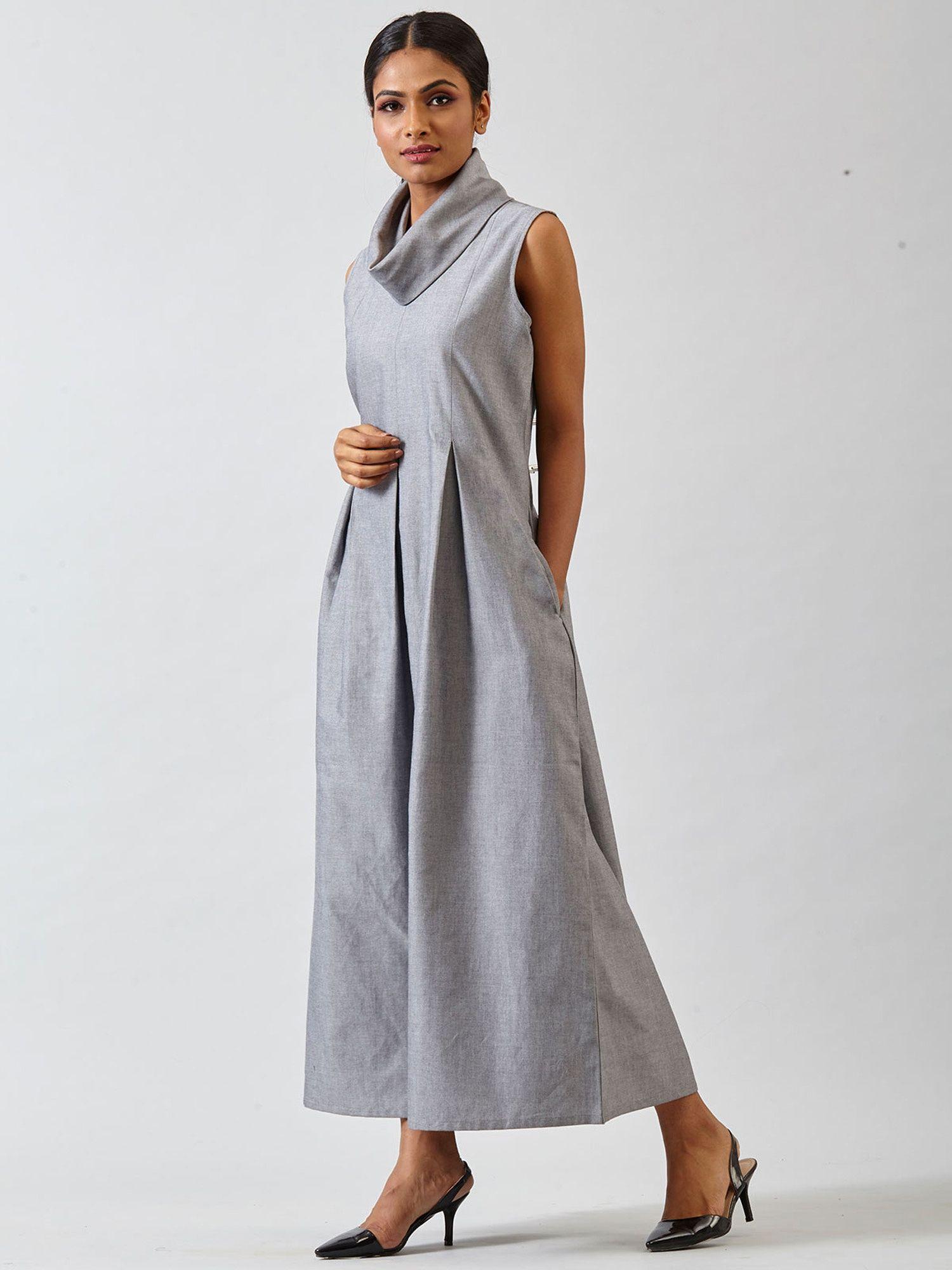 00b267f0f6 FableStreet Dresses   Buy FableStreet Cowl Neck Pleated Maxi Dress - Grey  Online