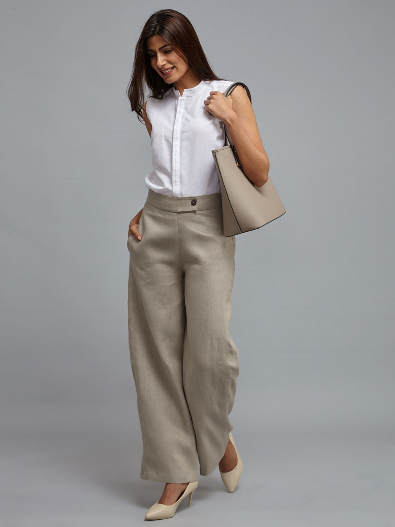91dfd177f6 FableStreet Bottoms Pants and Trousers   Buy FableStreet Linen Wide Leg  Trousers - Pale Beige Online