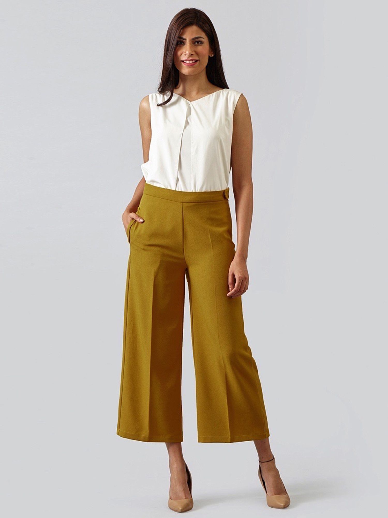 5aaf97609cf2 FableStreet Bottoms Pants and Trousers   Buy FableStreet Wide Leg Culottes  - Mustard Online