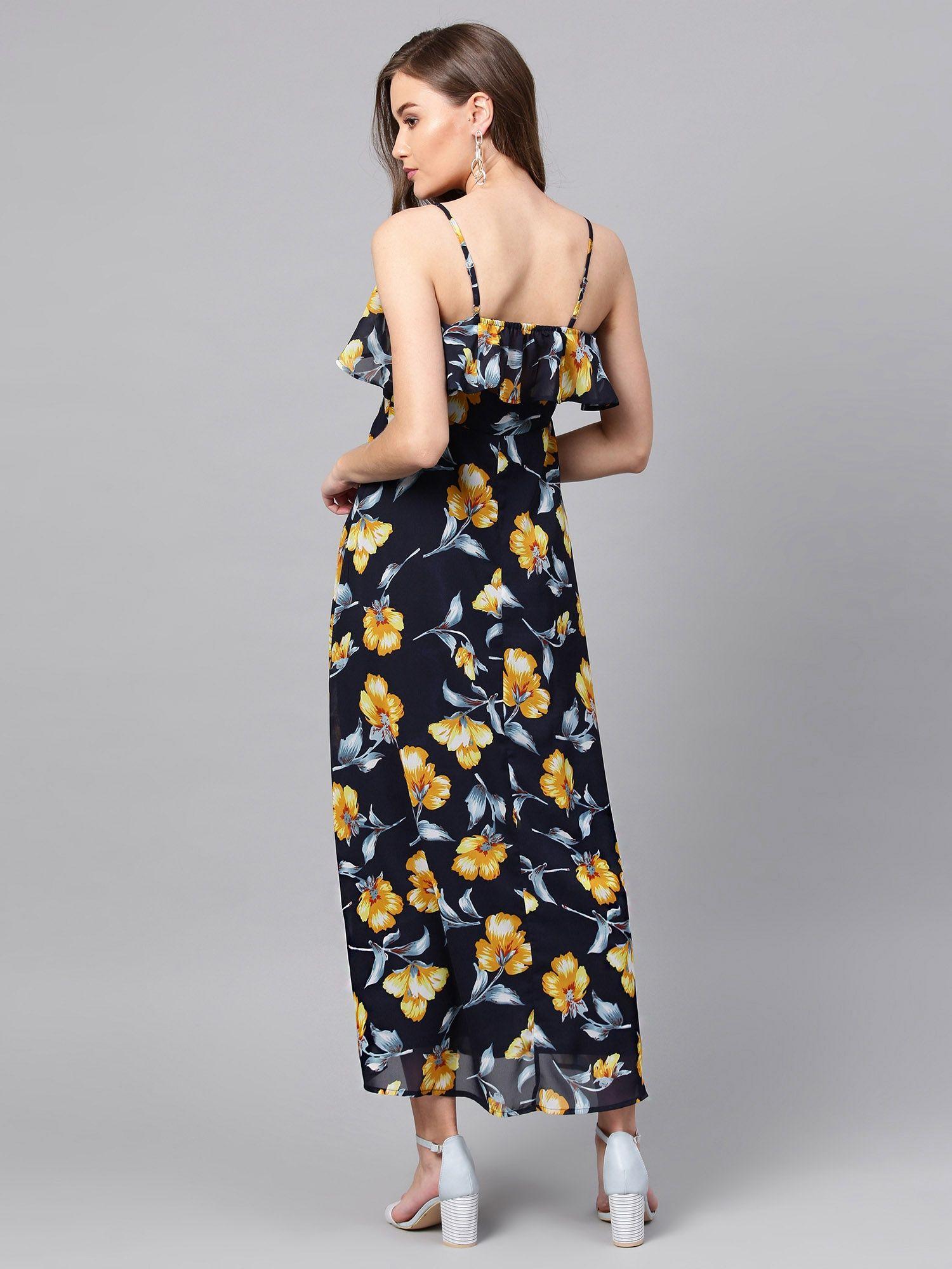 684aada97c7b4 Femella Dresses : Buy Femella Navy Blue Floral Printed Ruffle Maxi ...
