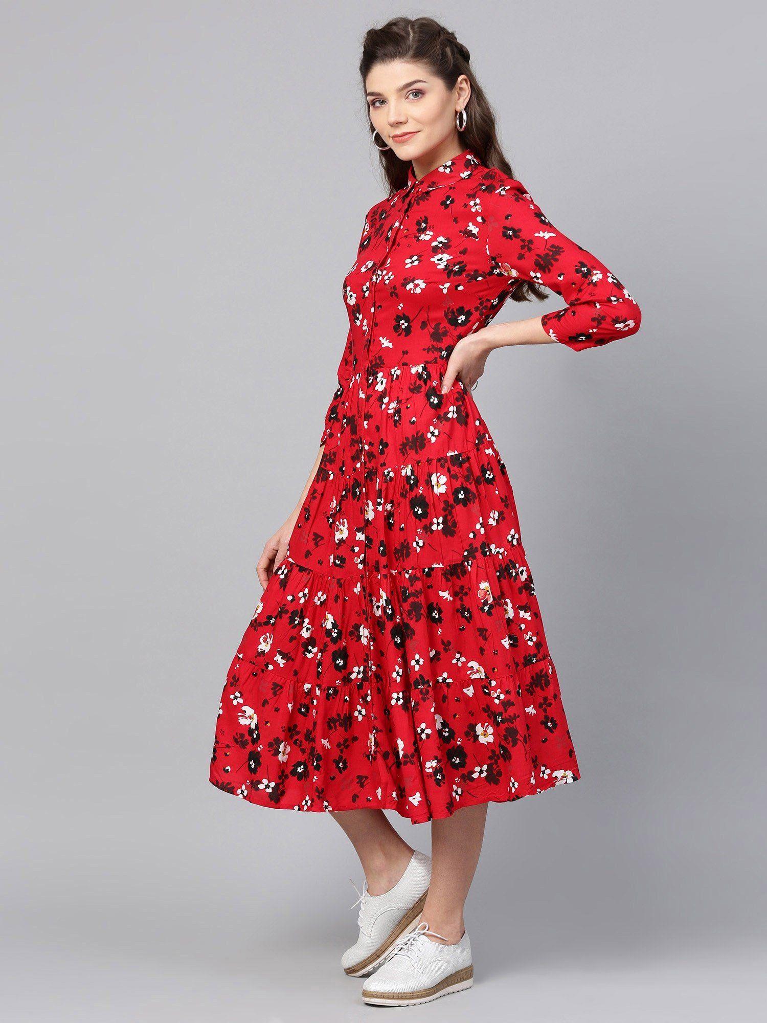 ea09795c38480 Femella Dresses : Buy Femella Red Floral Print Tier Shirt Dress ...