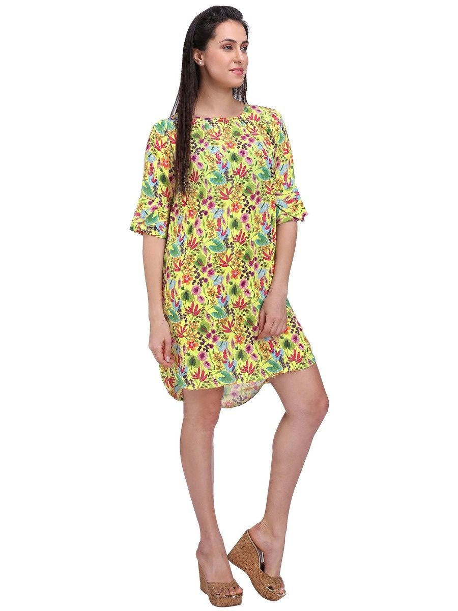 388fdae53512 Frangipani Dresses   Buy Frangipani Floral Yellow Shift Dress Online ...