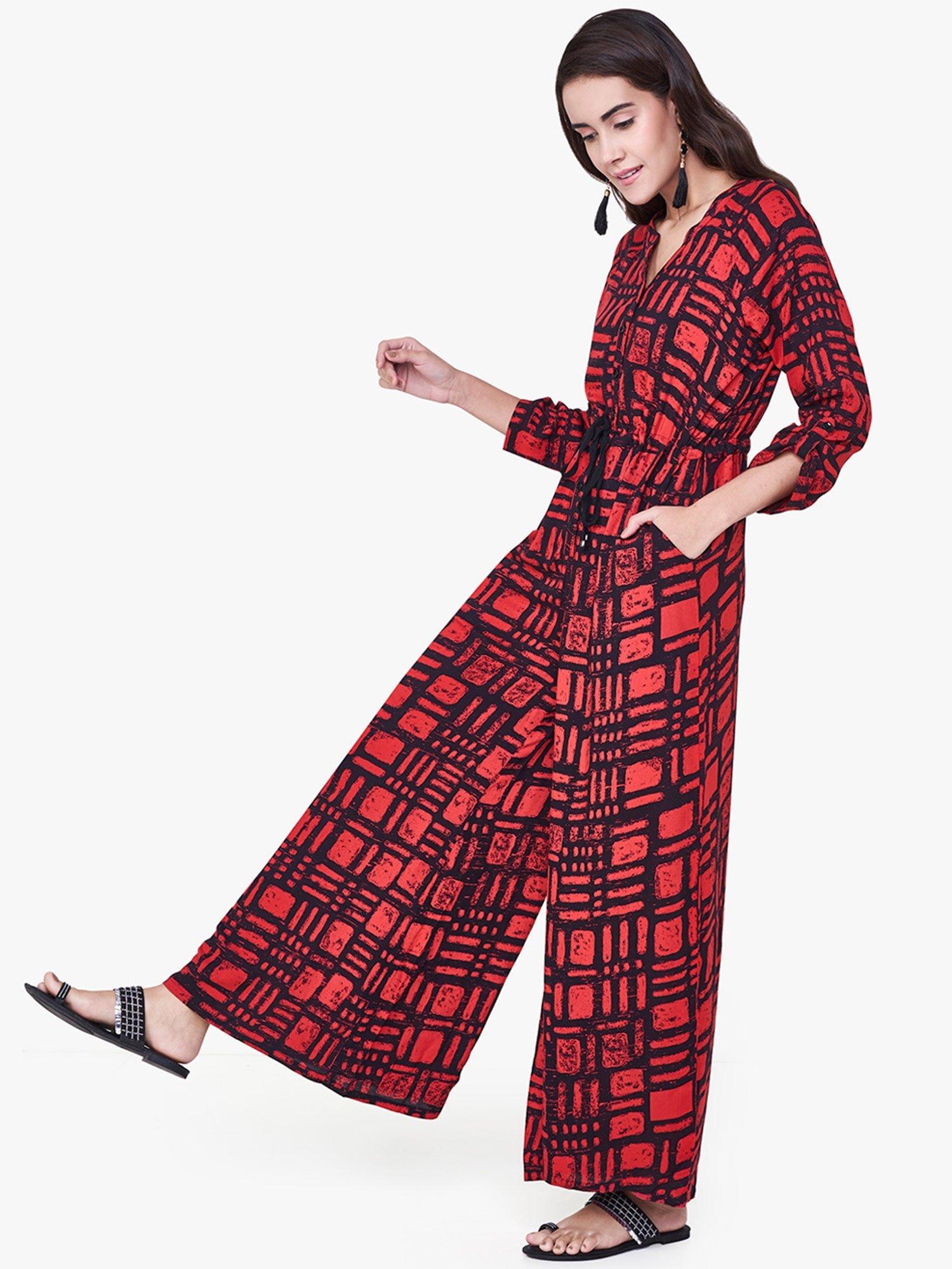 b25439df1812 Global Desi Jumpsuits   Buy Global Desi Red Dastakhat Jumpsuit Online