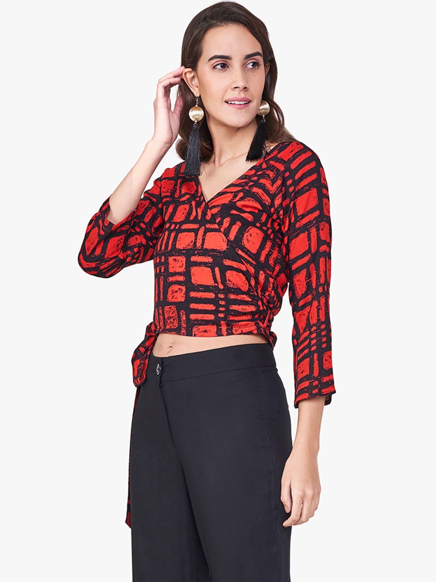 Global Desi Shirts Tops and Crop Tops   Buy Global Desi Red Wrap Waist  Tie-Up Crop Top Online  633495e37