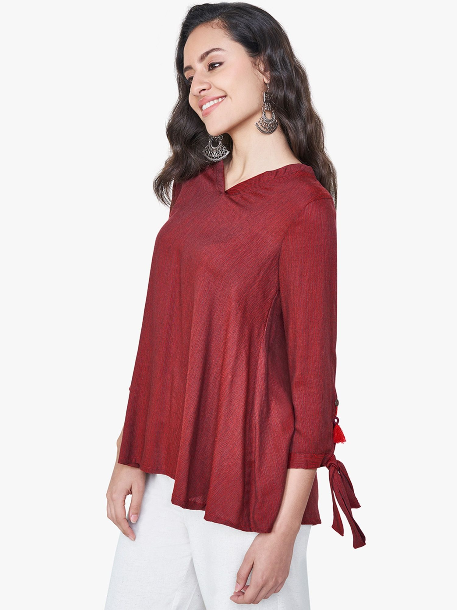 ead0fdfb4e2 Global Desi Shirts Tops and Crop Tops : Buy Global Desi Red Chevron ...