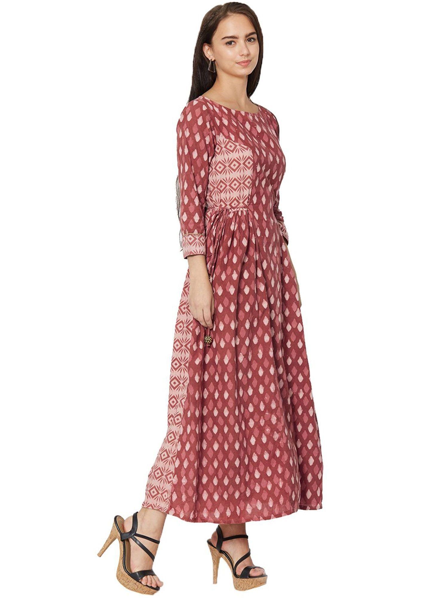 8e5fe50e3 IDAR Kurtis Kurtas and Tunics : Buy Idar Women's Maroon Cotton Block ...