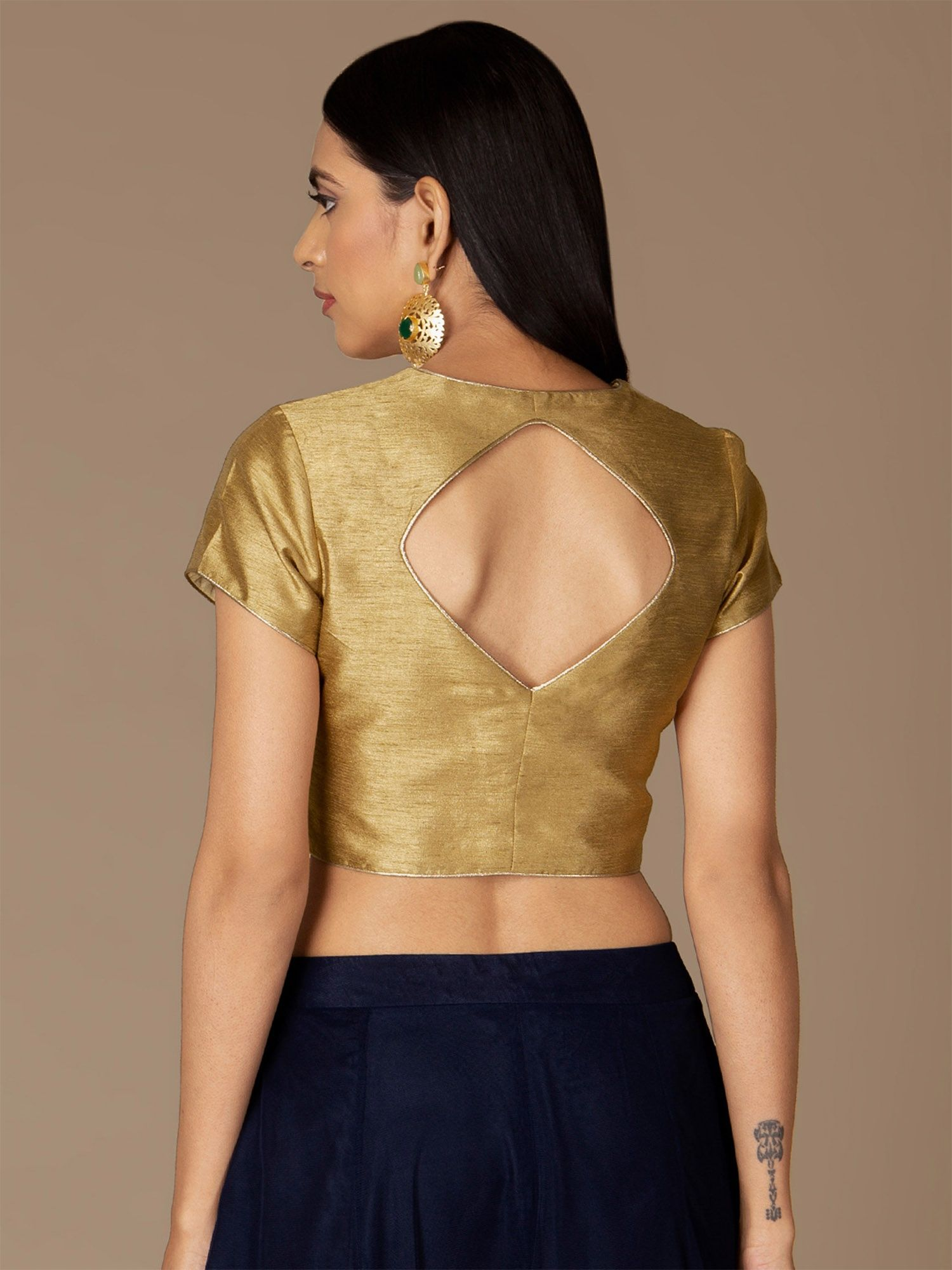 d02340173a Indya Shirts Tops and Crop Tops : Buy Indya Gold Sweetheart Neck ...