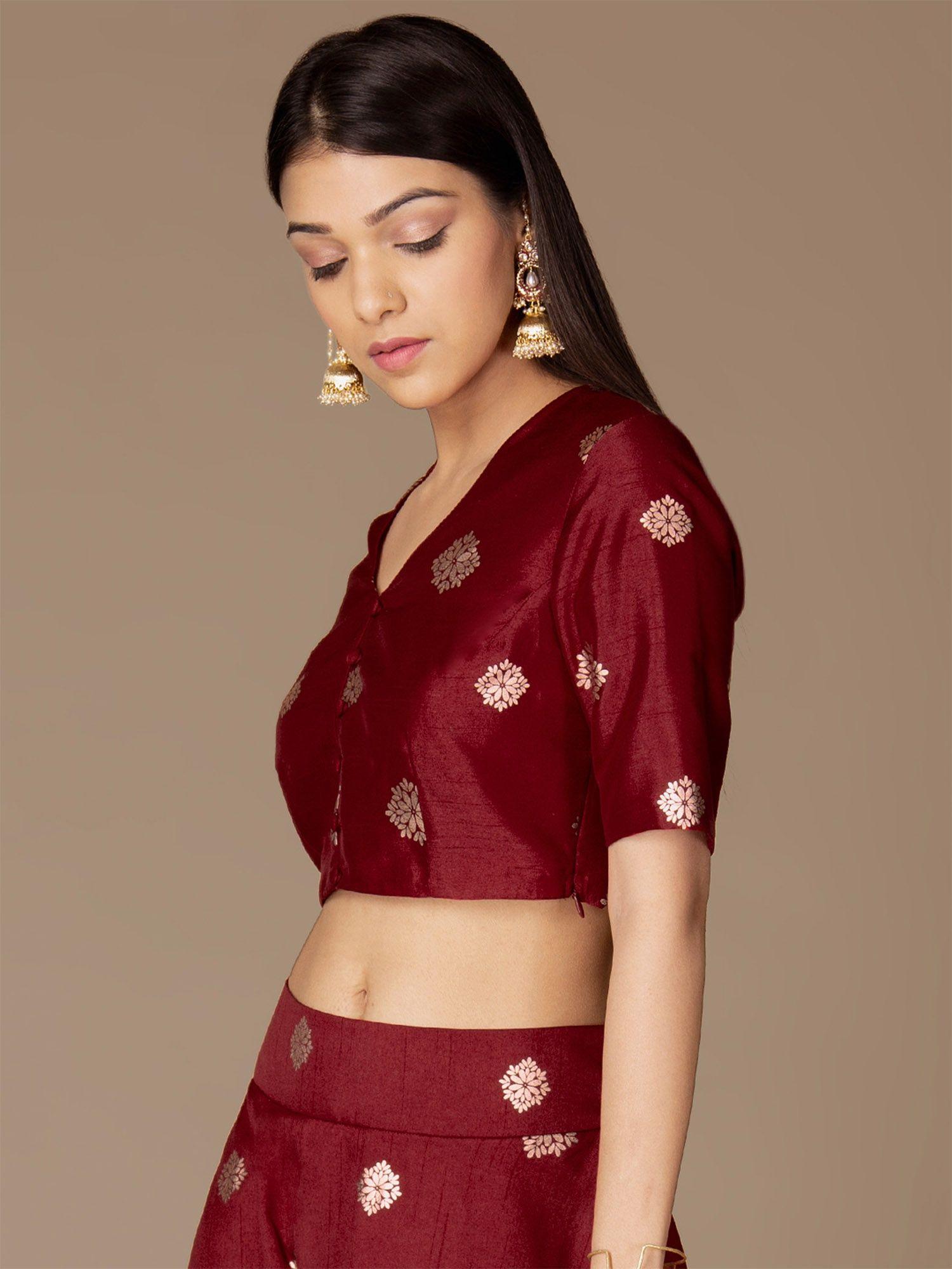 965b358015 Indya Shirts Tops and Crop Tops : Buy Indya Maroon Rose Gold Foil ...