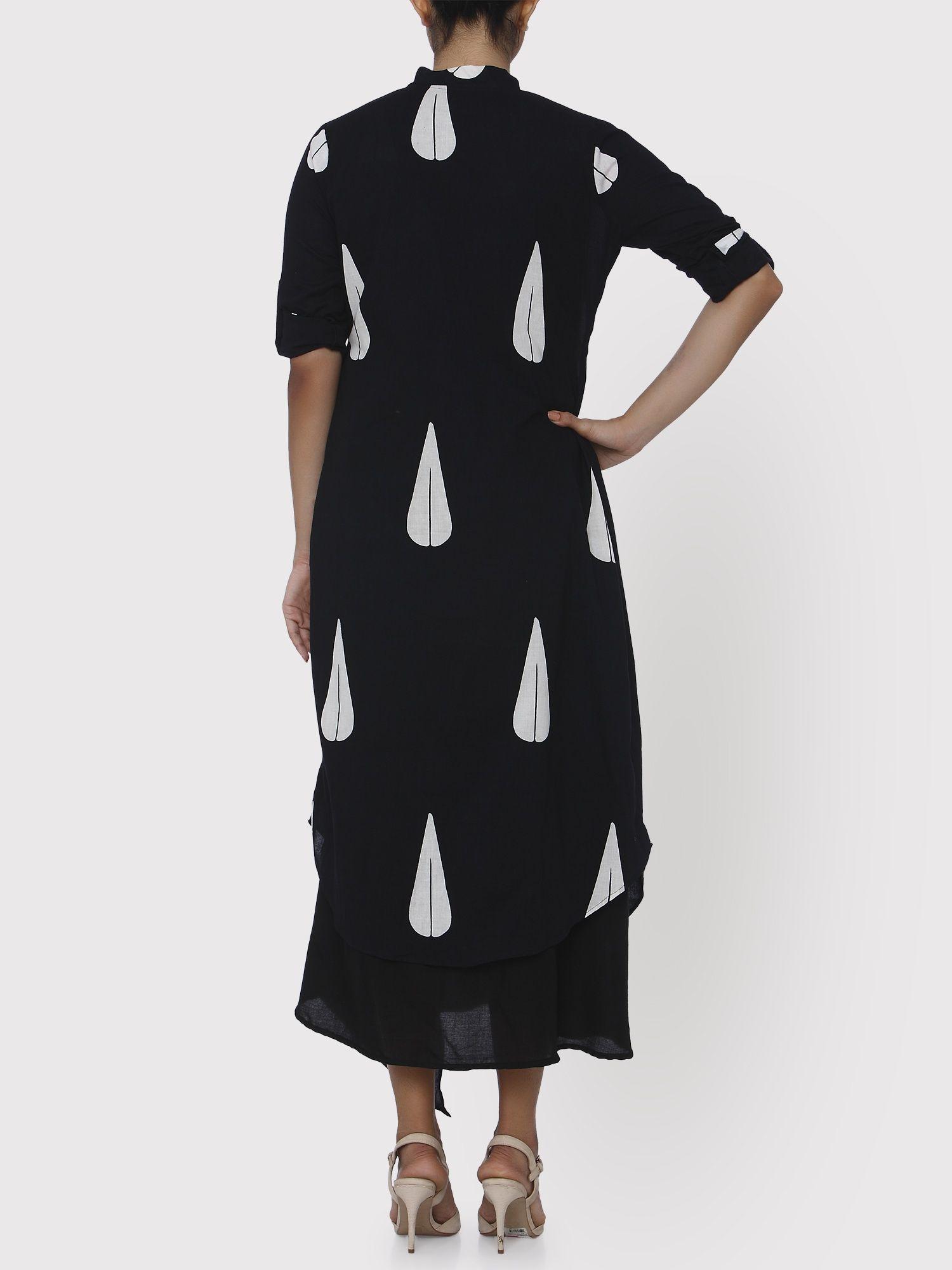 Keva Black Block Print Cape Dress
