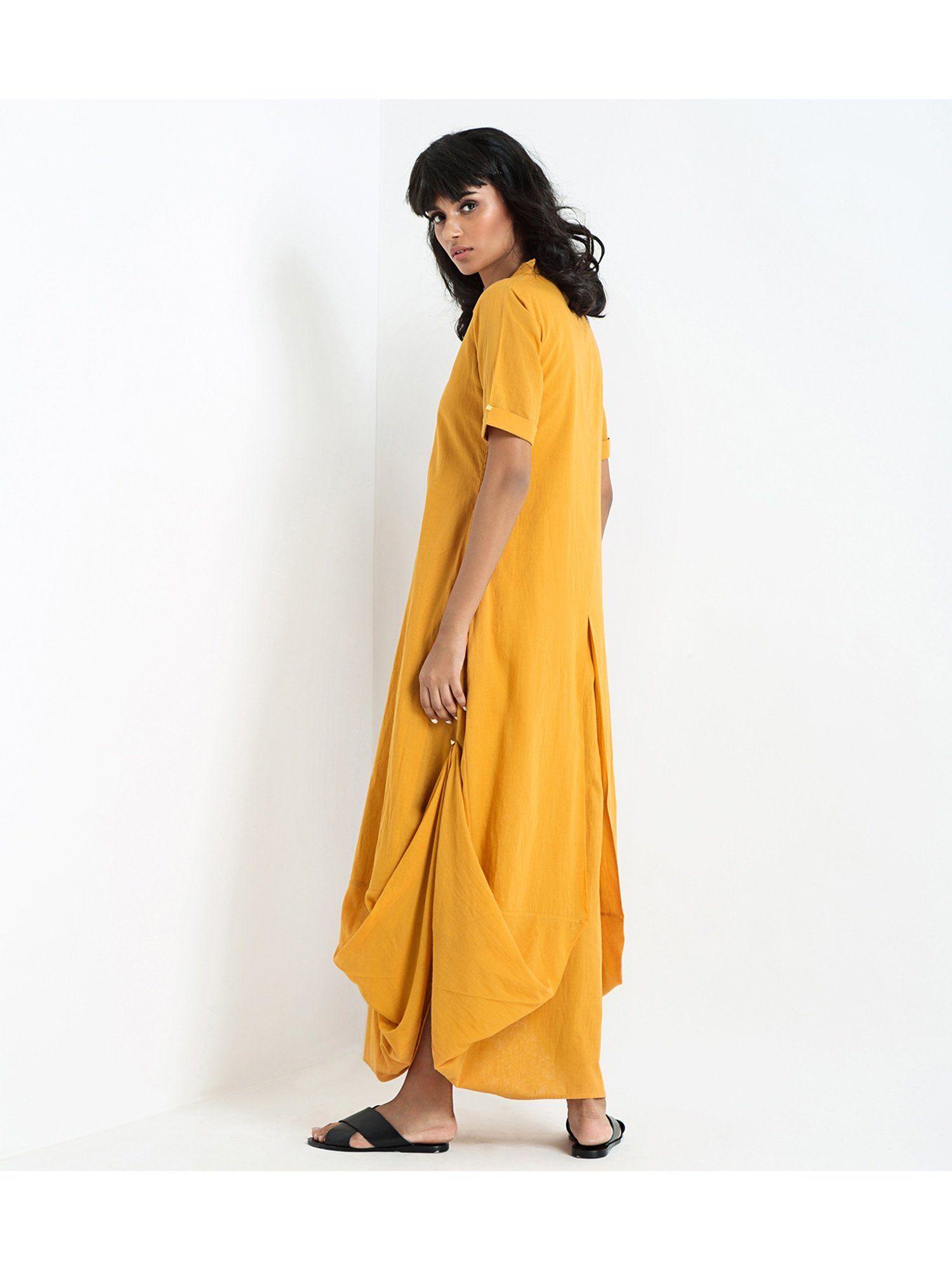 d0e77945a605 Khara Kapas Dresses : Buy Khara Kapas Yellow Heatwave Dress Online ...