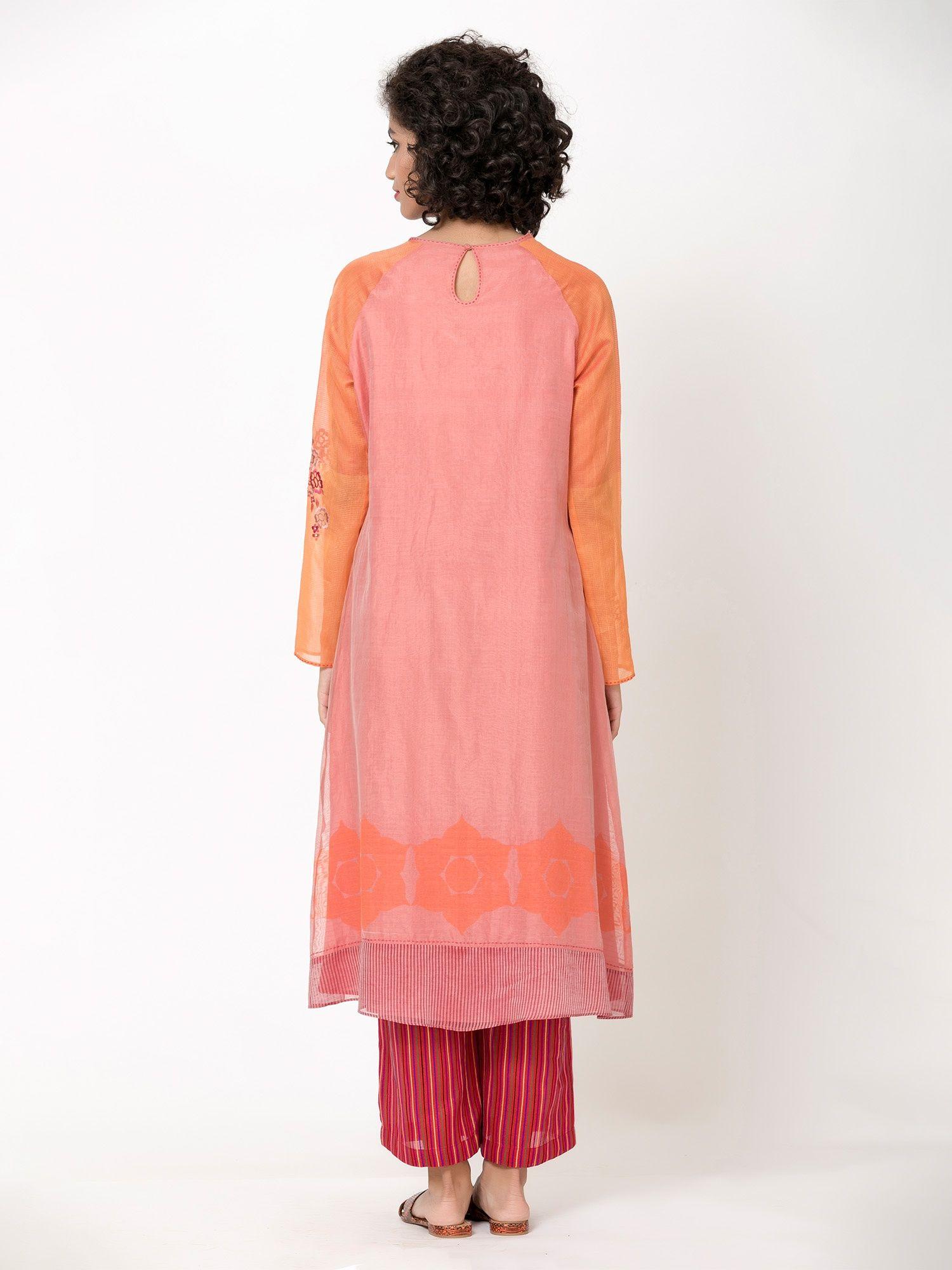 Krishna Mehta Pink Embroiderd Tunic