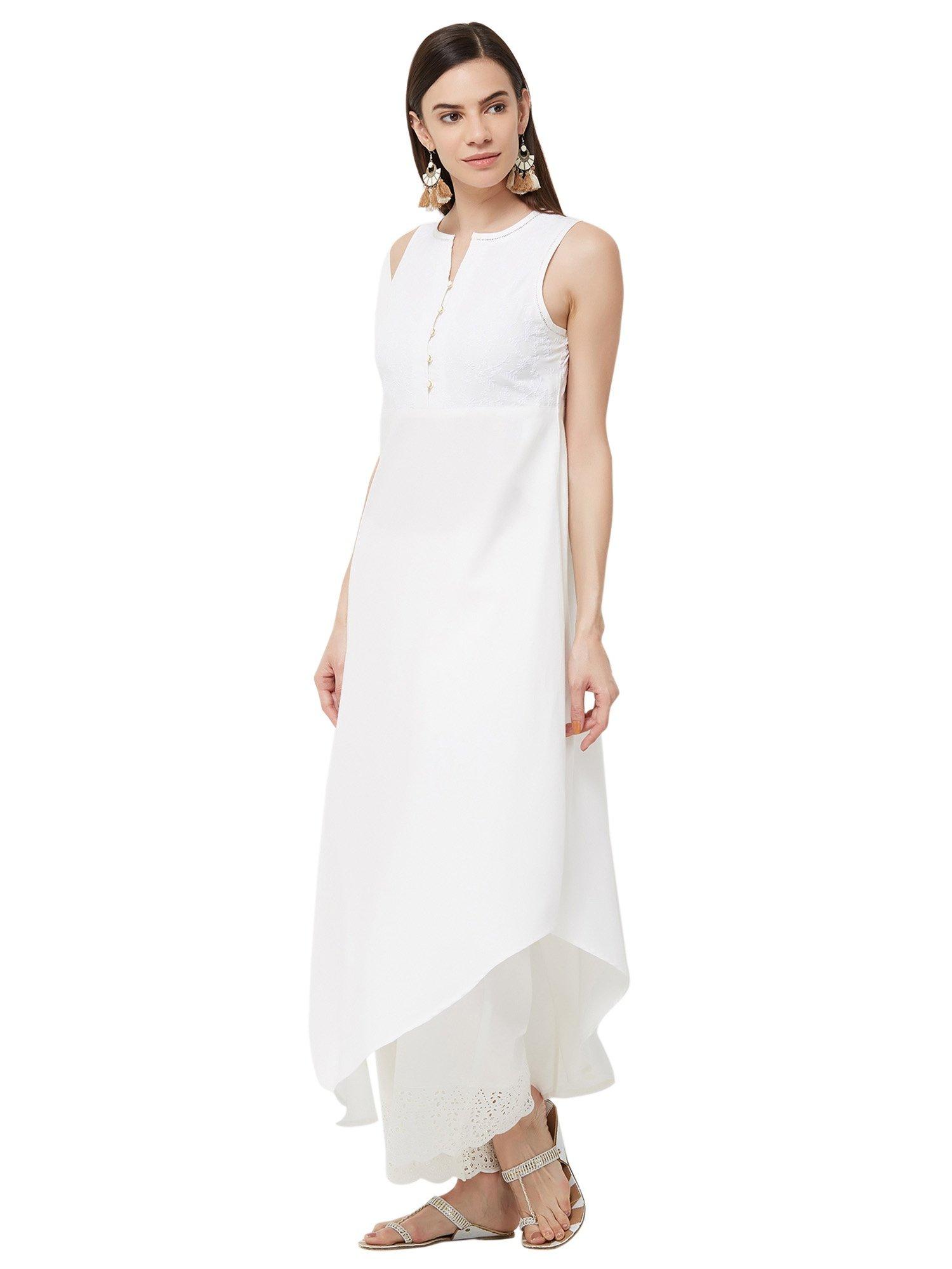 aa0ac2d63e97ac Naari Kurtis Kurtas and Tunics   Buy Naari Off White Linolio Fabric ...