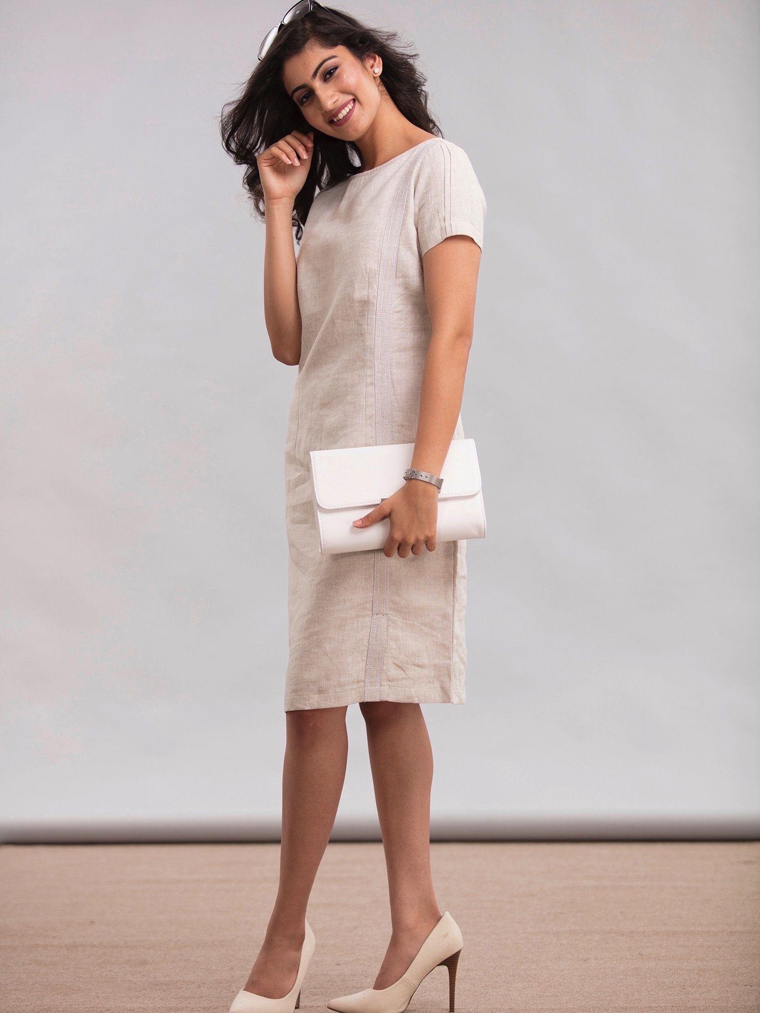66ea1d43f5 FableStreet Dresses   Buy FableStreet Linen Shift Dress - Beige ...