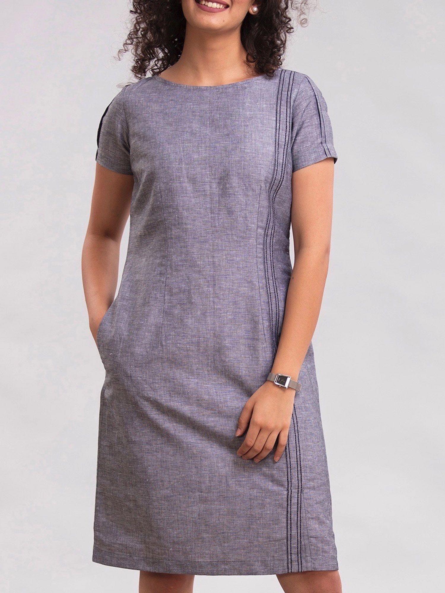 7cd1d6812d FableStreet Dresses   Buy FableStreet Linen Shift Dress - Blue ...
