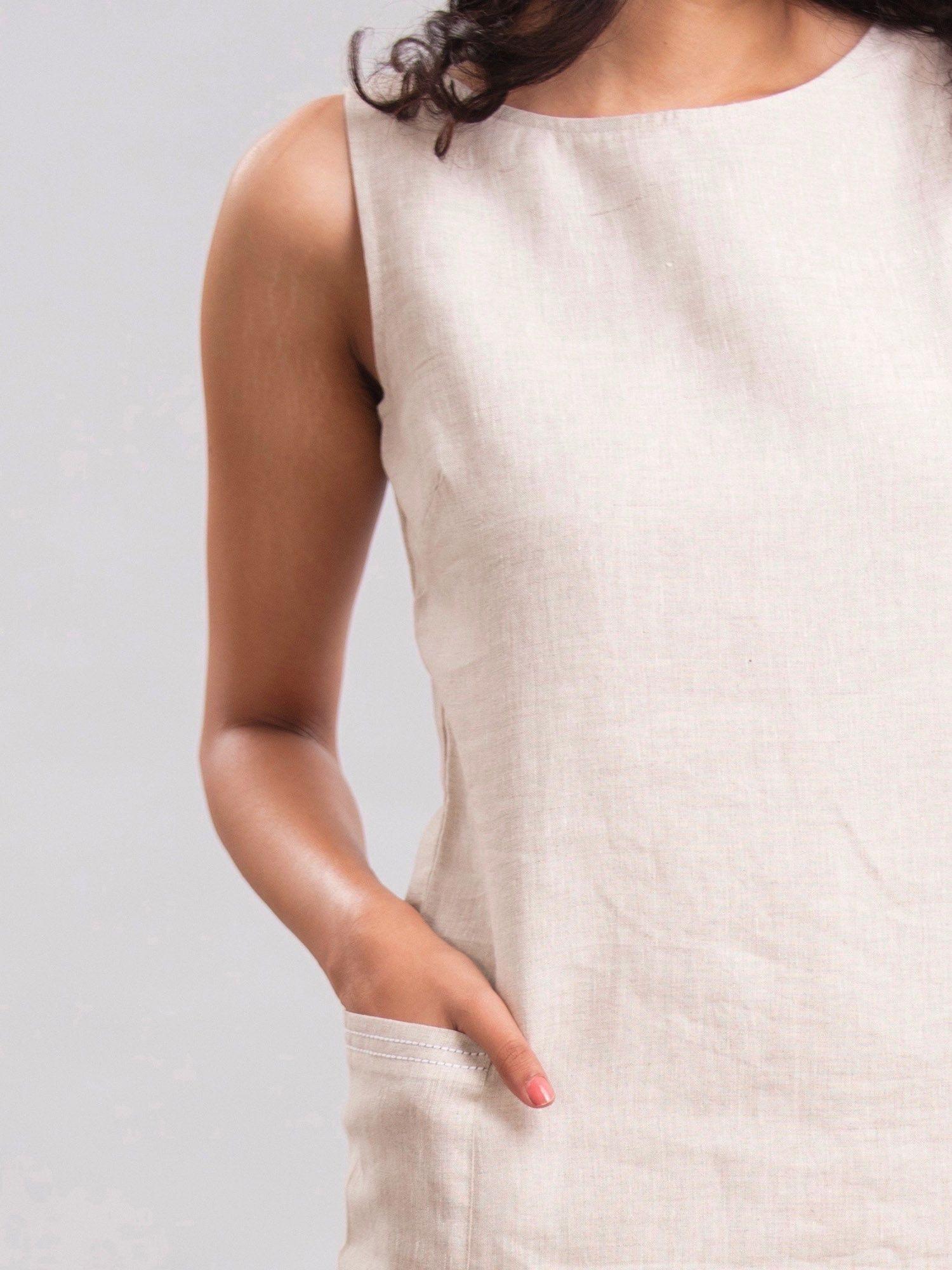 3557257d4b FableStreet Dresses   Buy FableStreet Sleeveless Linen Shift Dress ...