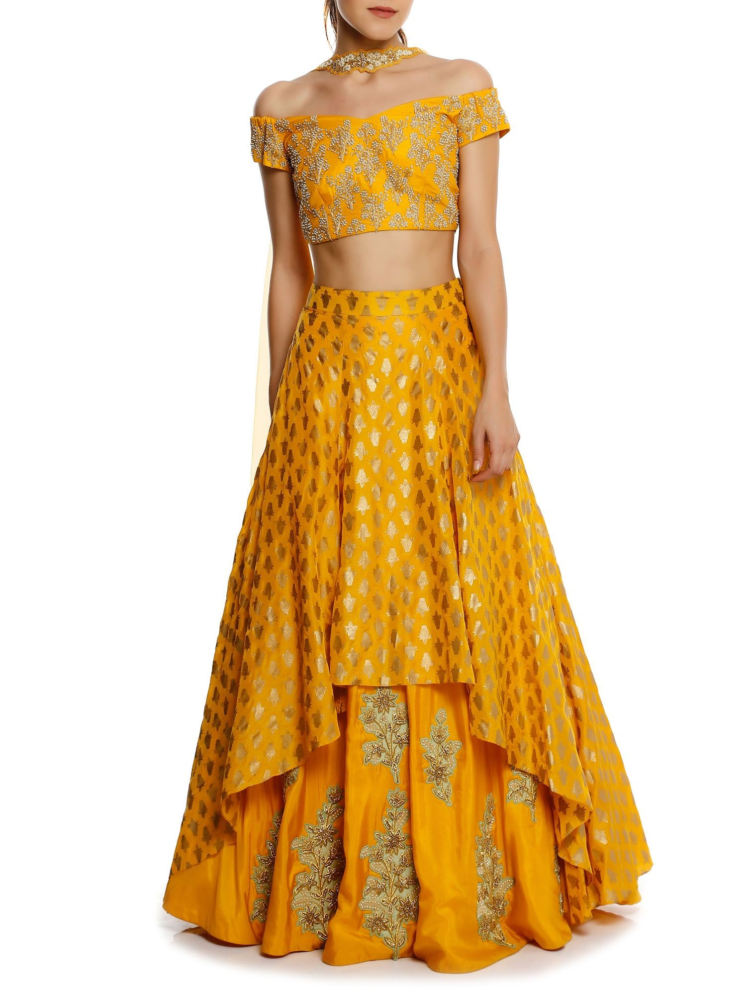 18c7a8536a Masaba Yellow Kalash High-Low Lehenga With Choker Dupatta & Embroidered  Blouse