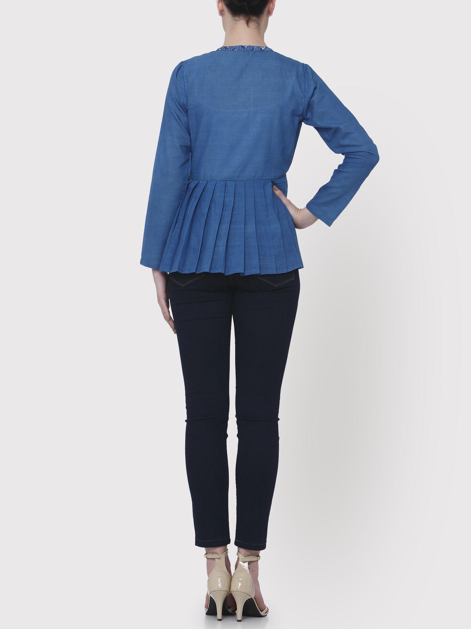 a757254f15e Medhya Jackets   Buy Medhya Blue Khadi Jacket Online