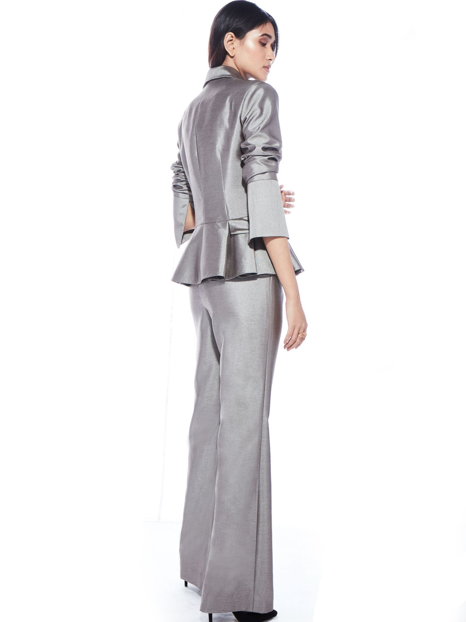3e023ab06b Ritika Jackets   Buy Ritika Metallic Grey Ruffle Blazer With Pocket Detail  Online