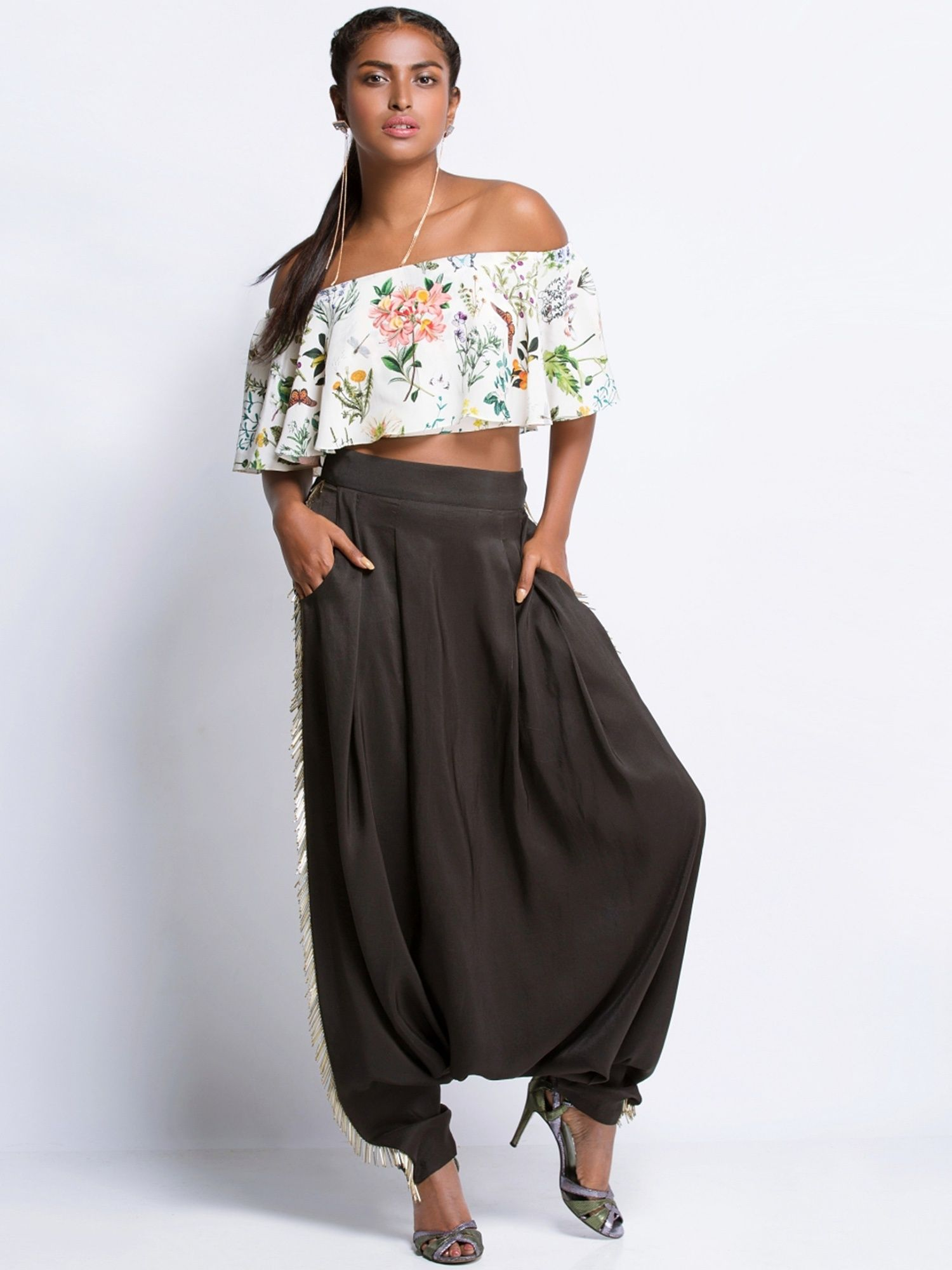 d3db74eb3e1 Payal Singhal Off White Printed Off Shoulder Ruffle Top And Black Pants
