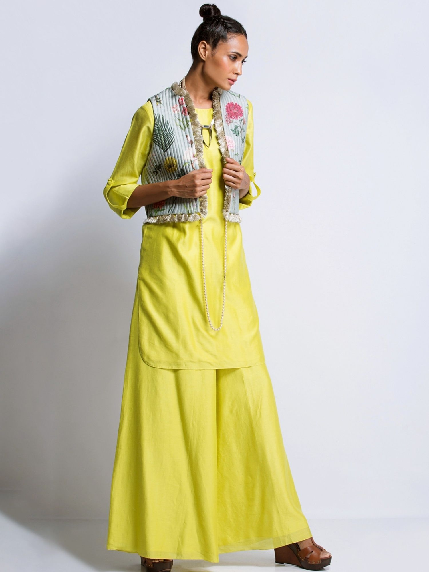 f92dab2be85 Payal Singhal Jackets   Buy Payal Singhal Lime Kurta And Printed ...