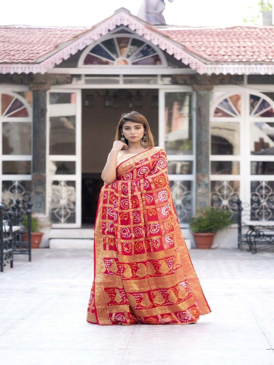 43dcd4d099 Rangpur Sarees : Buy Rangpur Red Checked Saree With Blouse Online ...