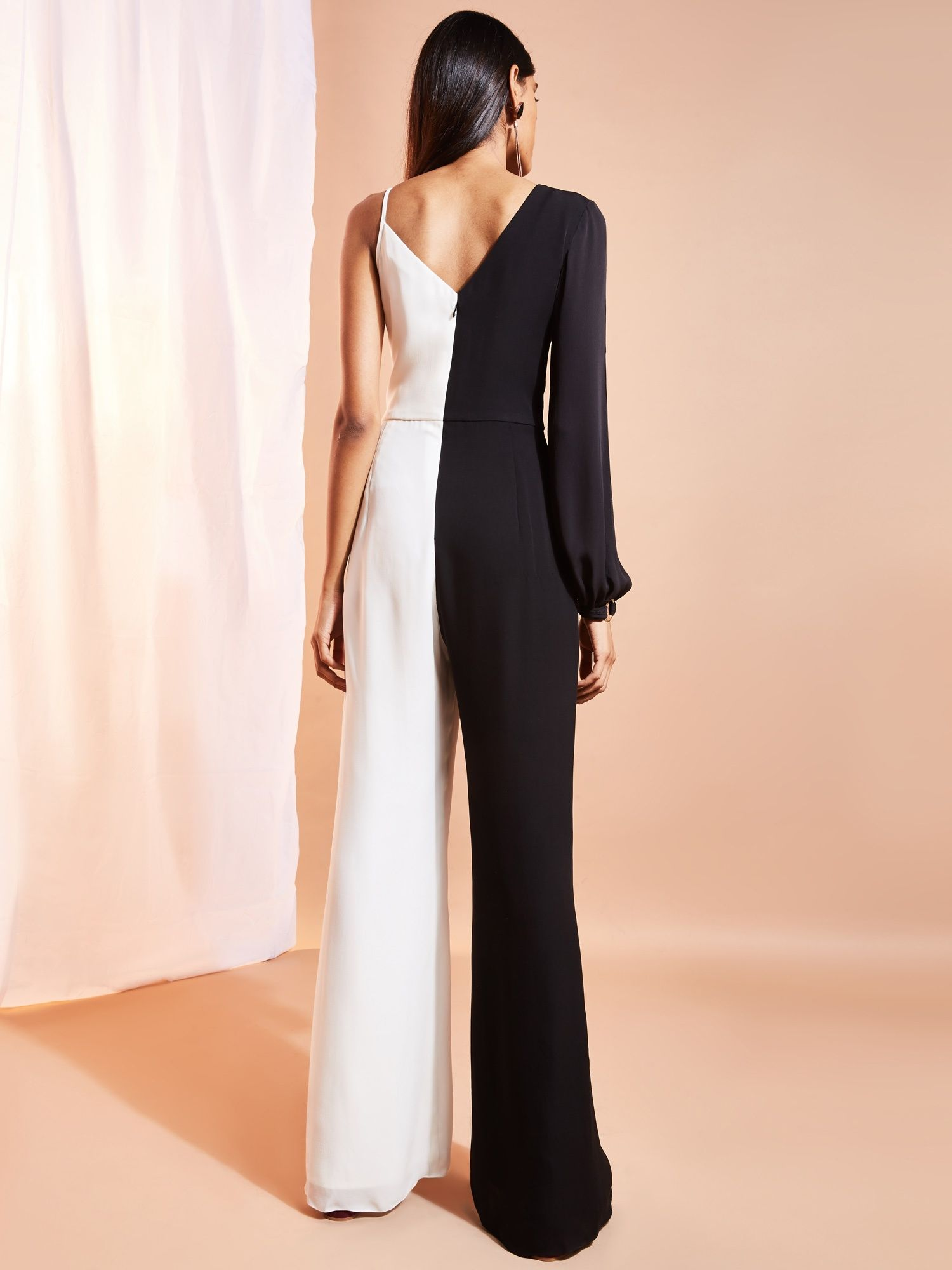 6f5f09ba59b Ritika Jump-Suits   Buy Ritika Black And White Color Block Jumpsuit With  Sleeve On One Side Online