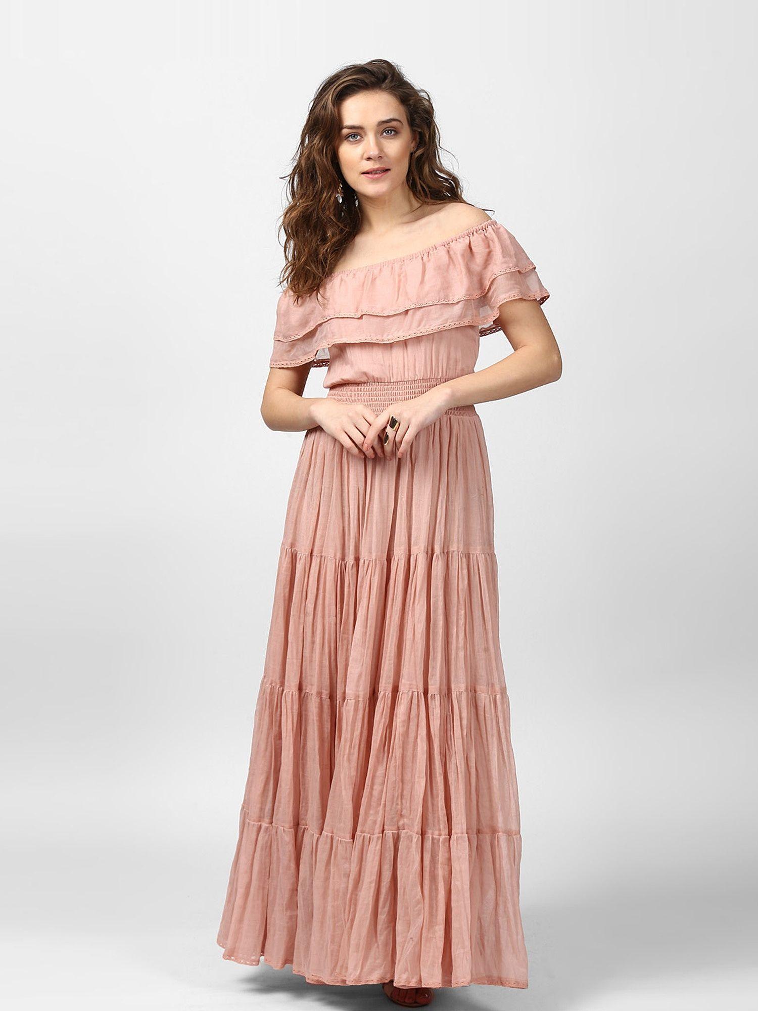 b2e50c8ae332 Label Ritu Kumar Dresses   Buy Label Ritu Kumar Off Shoulder Long Dress -  Pink Online