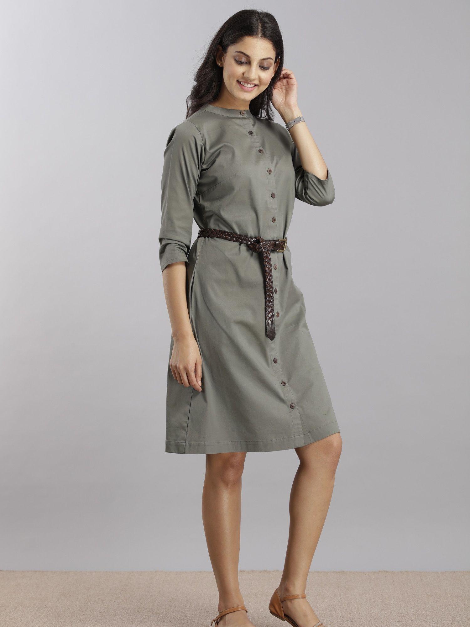 467dcee027 FableStreet Dresses   Buy FableStreet Poplin Shirt Dress - Olive ...