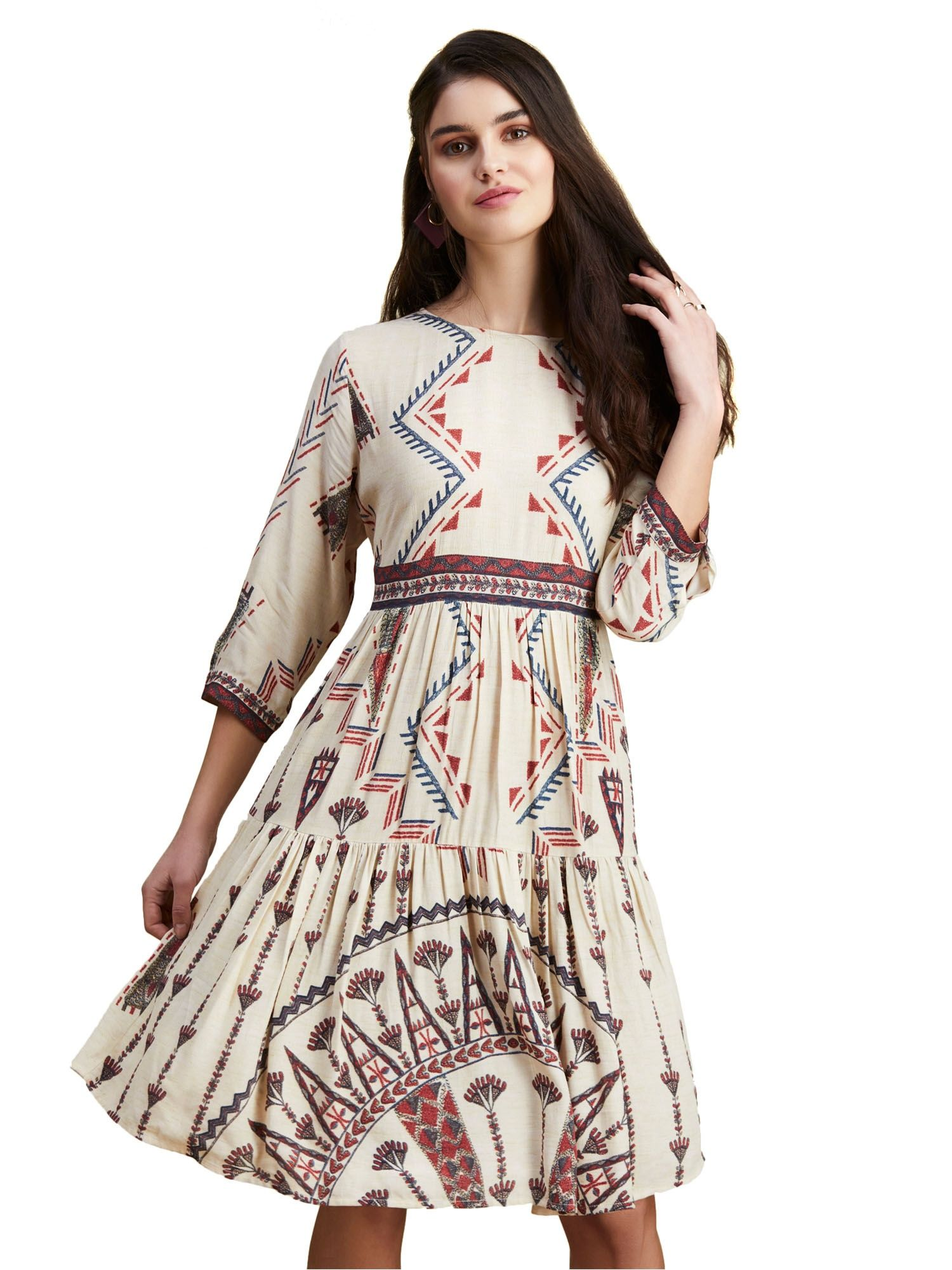 1dac31ed9f Label Ritu Kumar Dresses   Buy Label Ritu Kumar Ecru Abstract Print ...