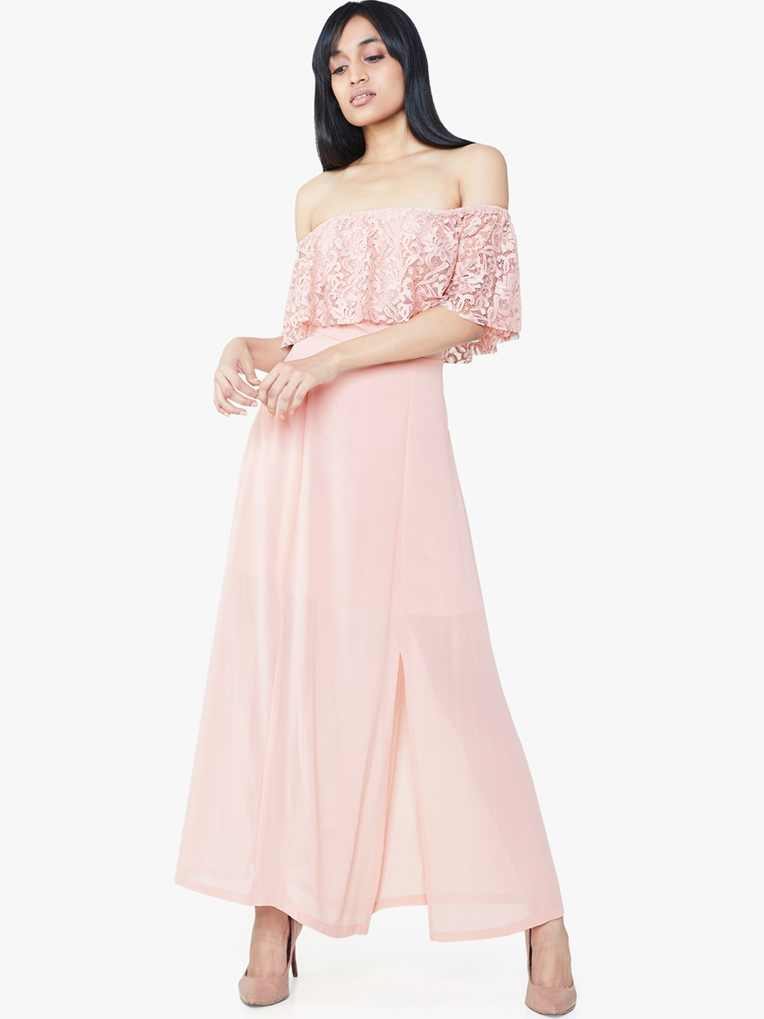 b6073a60d93 AND Gowns   Buy AND Pink Lace Off-Shoulder Maxi Dress Online
