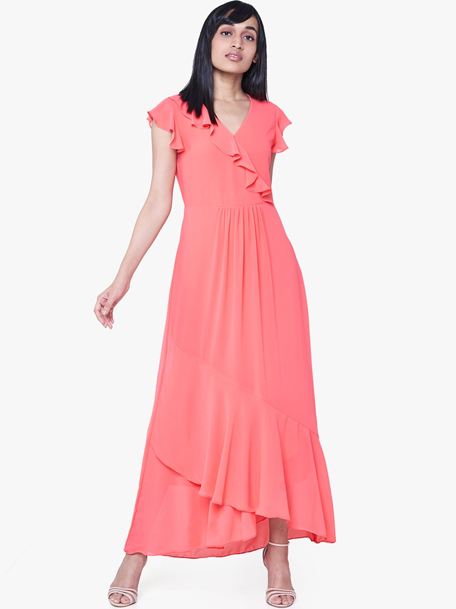 c60c75c61700 AND Gowns : Buy AND Coral Ruffled Maxi Dress Online | Nykaa Fashion.