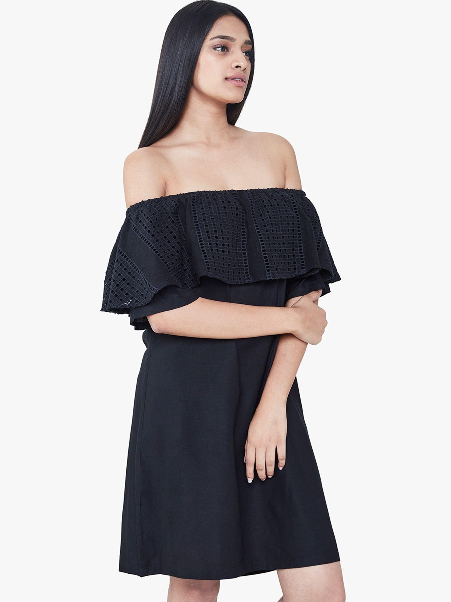 cb82d3933d04 AND Dresses   Buy AND Black Flounce Off Shoulder Dress Online ...