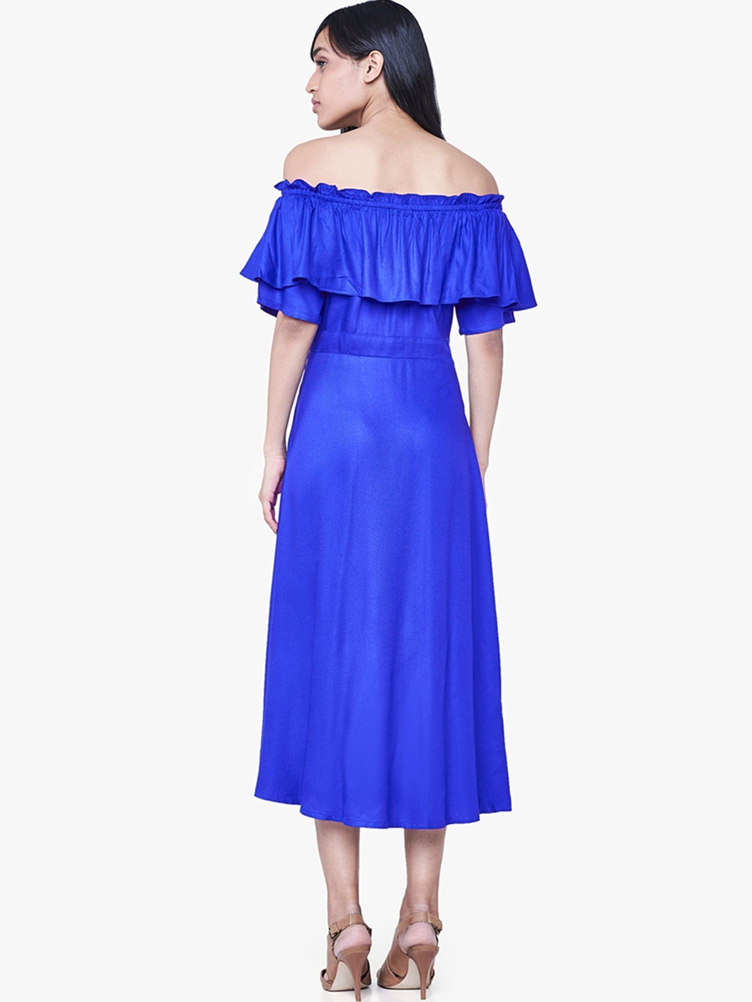 a90e66fd67cc AND Dresses   Buy AND Blue Ruffled Off Shoulder Dress Online