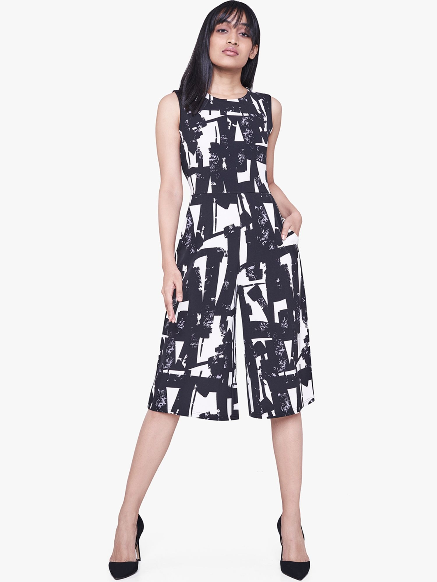90cf636b8e71 AND Jump-Suits   Buy AND Black   White Abstract Print Jumpsuit Online
