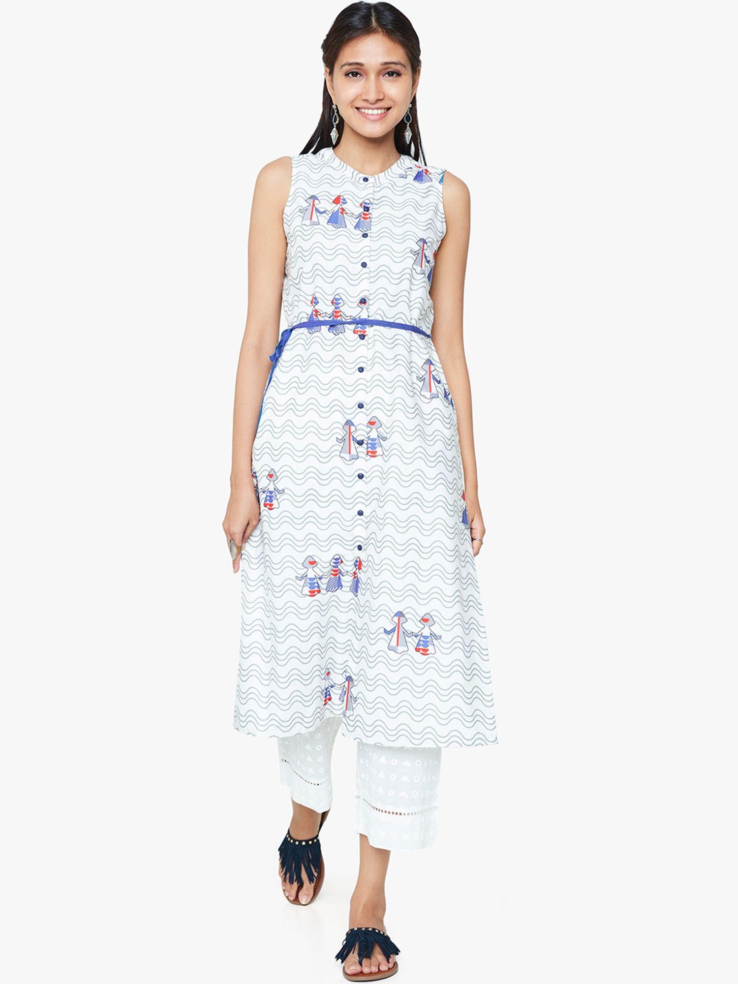 Global Desi Tunics   Buy Global Desi White Puppet Print Front Button Tunic  Online  151d62569