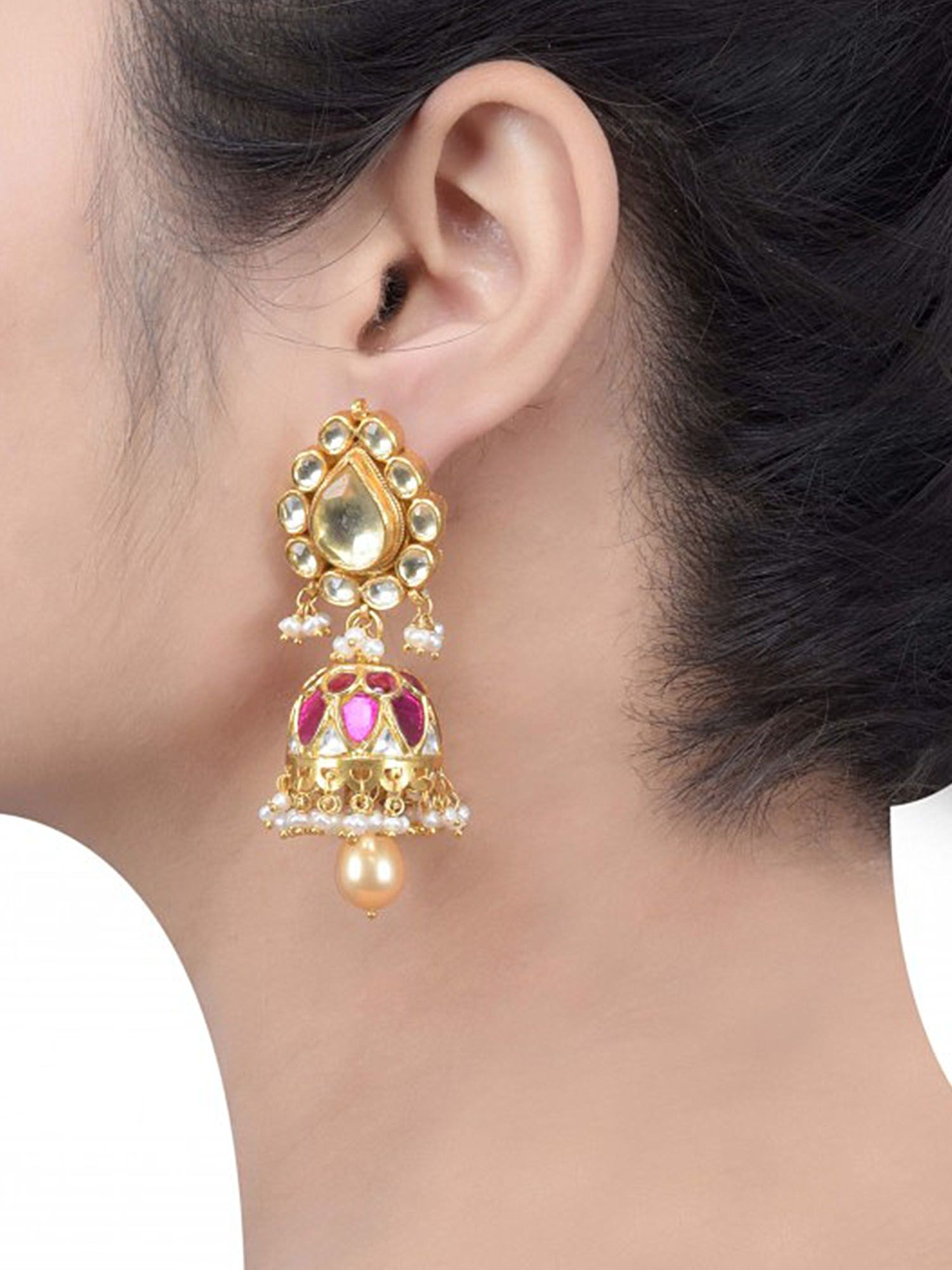d5bb95a26 Tribe By Amrapali Silver Gold Plated White Pink Pearl Drop Jhumki Earrings