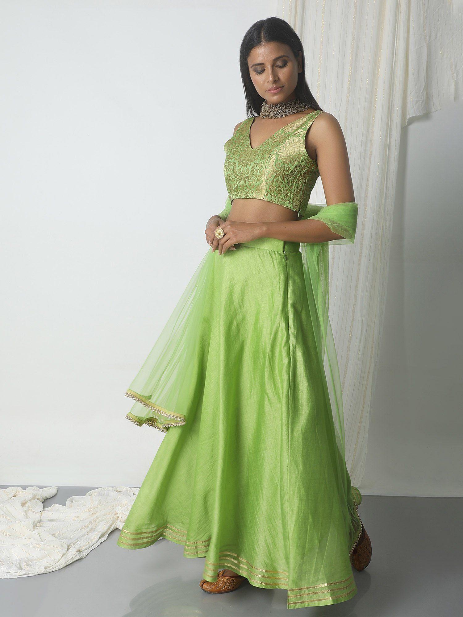trueBrowns Chartreuse Green Gota Chanderi Brocade Lehenga Set