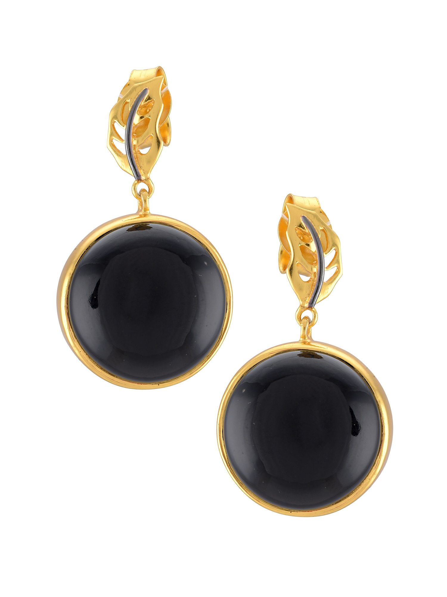 2020b7cc2 Tribe By Amrapali Silver Gold Plated Leafy Round Black Onyx Drop Earrings