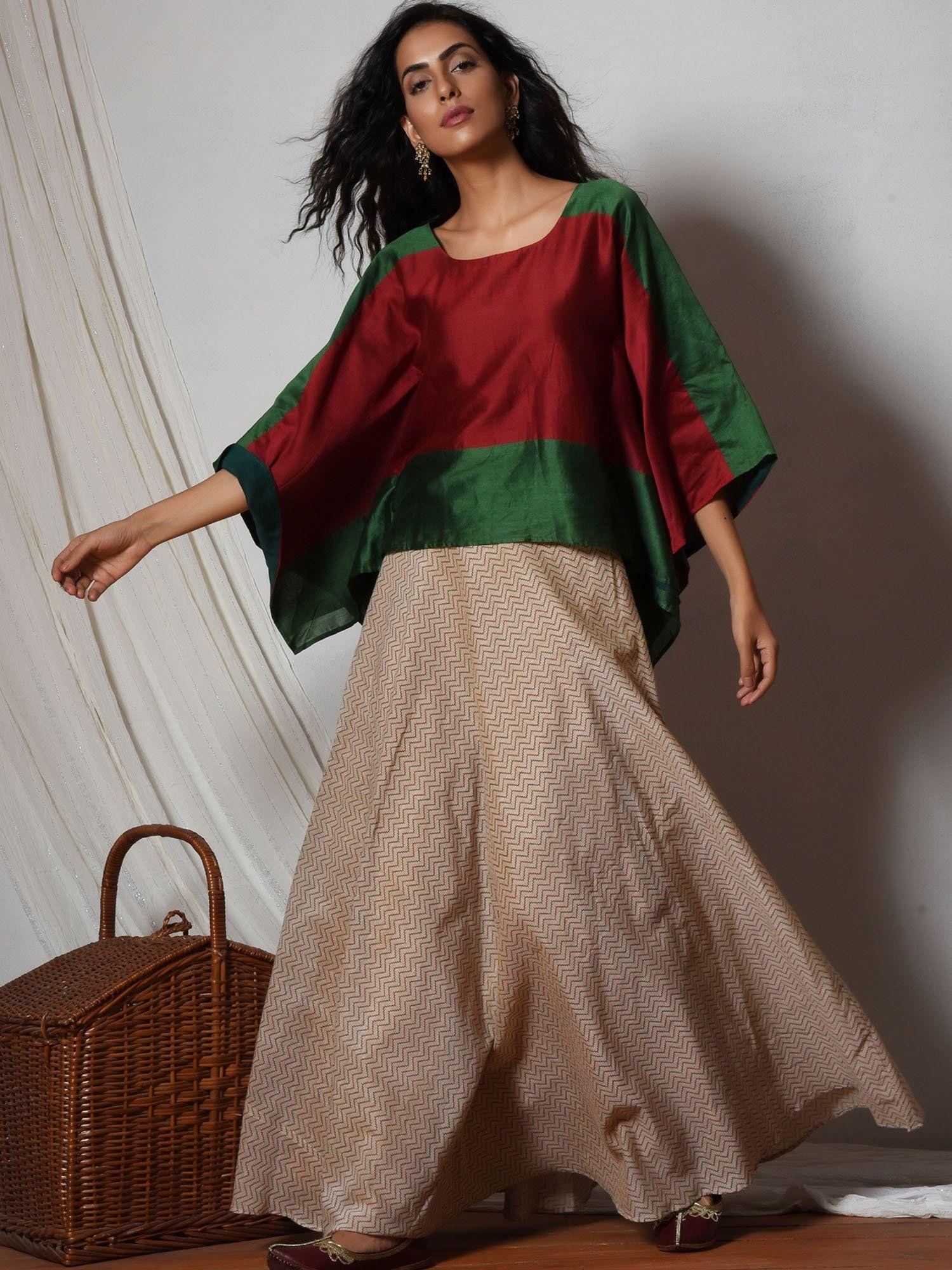 7f2d8147a1 trueBrowns Lehenga : Buy trueBrowns Red Green Kaftan Top with Beige ...
