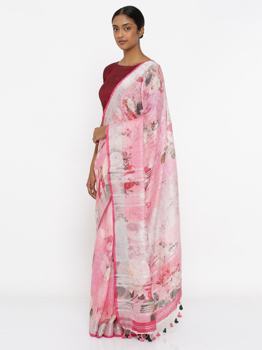 8ddbf3ee5f8786 Via East Blush Pink Pure Linen Saree With Floral Print And Silver Zari  Border