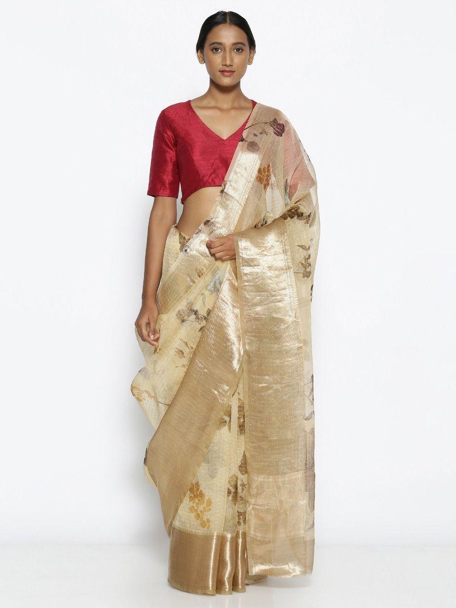76f4c1d038 Via East Beige Pure Silk-Organza Saree With Floral Print Over Zari Checks
