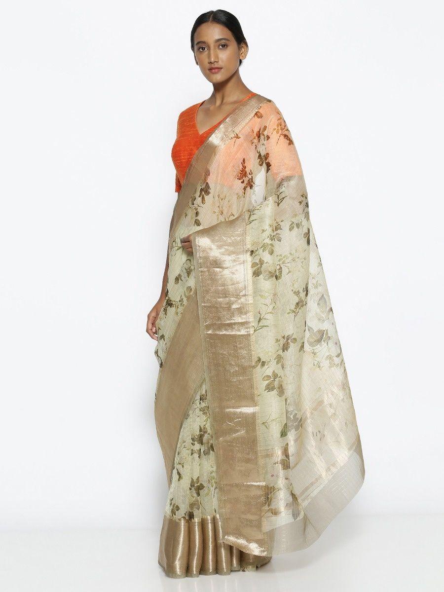25599bc712 Via East Pale Green Pure Silk-Organza Saree With With Floral Print Over  Zari Checks