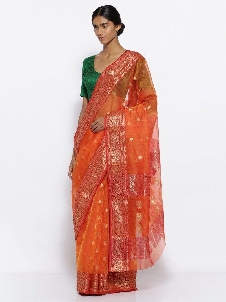 13a0732532b Via East Orange Handloom Pure Silk Chanderi Saree With Zari Motifs And Rich  Border