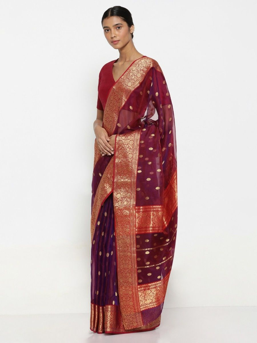 8689f1b5e02 Via East Mulberry Handloom Pure Silk Chanderi Silk Saree With Zari Motif And  Rich Border