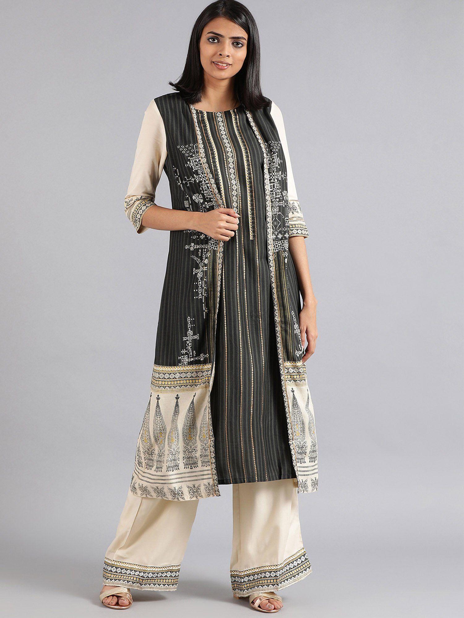 4852af0d142 W Kurtis Kurtas and Tunics   Buy W Grey Round Neck Khadi Print Kurta ...