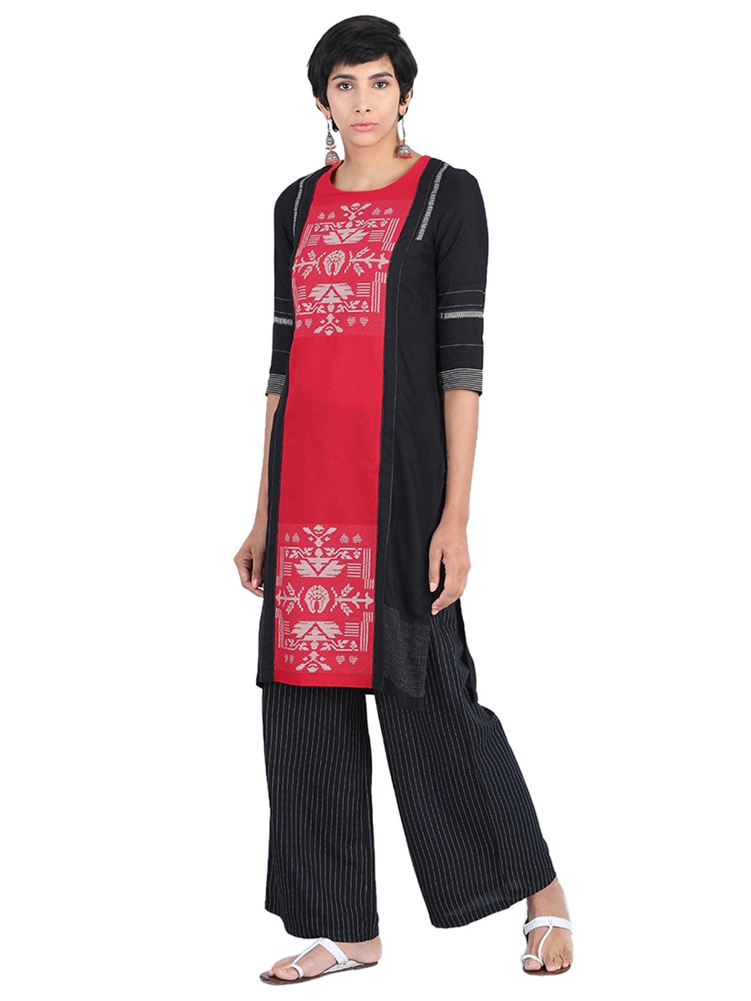d8401520e W Kurtis Kurtas and Tunics   Buy W Red Round Neck Printed Kurta ...