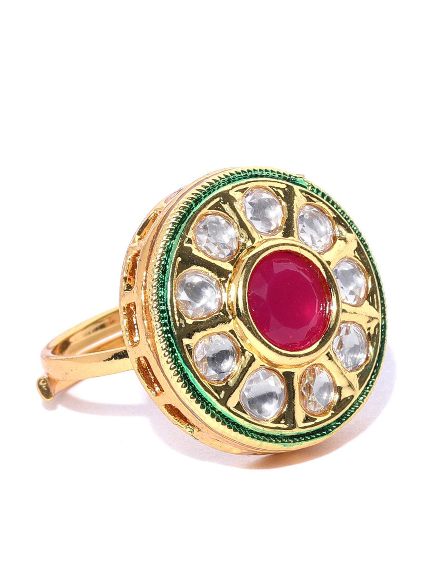 Wedding Rings Kundan Gold Plated Adjustable Size Cocktail Style Fashion Jewelry