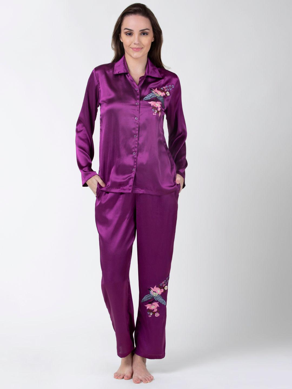 Adorenite Lingerie : Adorenite Full Sleeves Pyjama Set With Bird Embroidery  - Purple Online | Nykaa Fashion